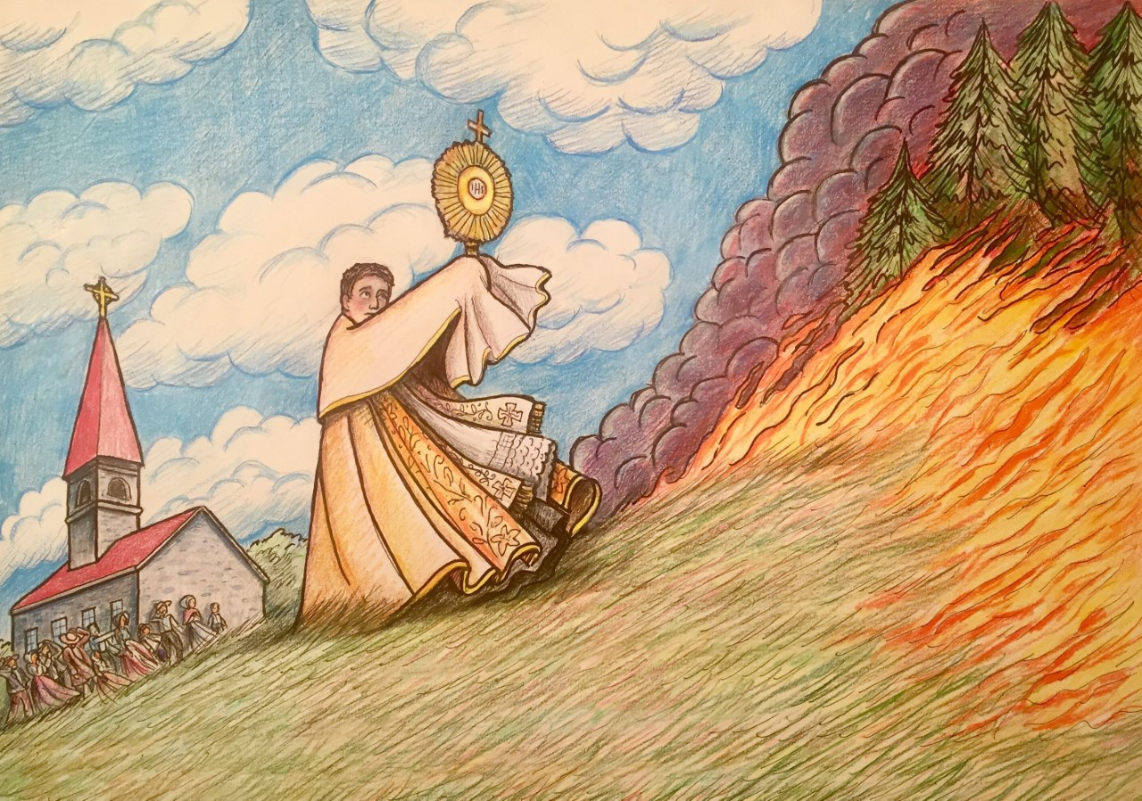 Forest fire repelled by a blessing Image