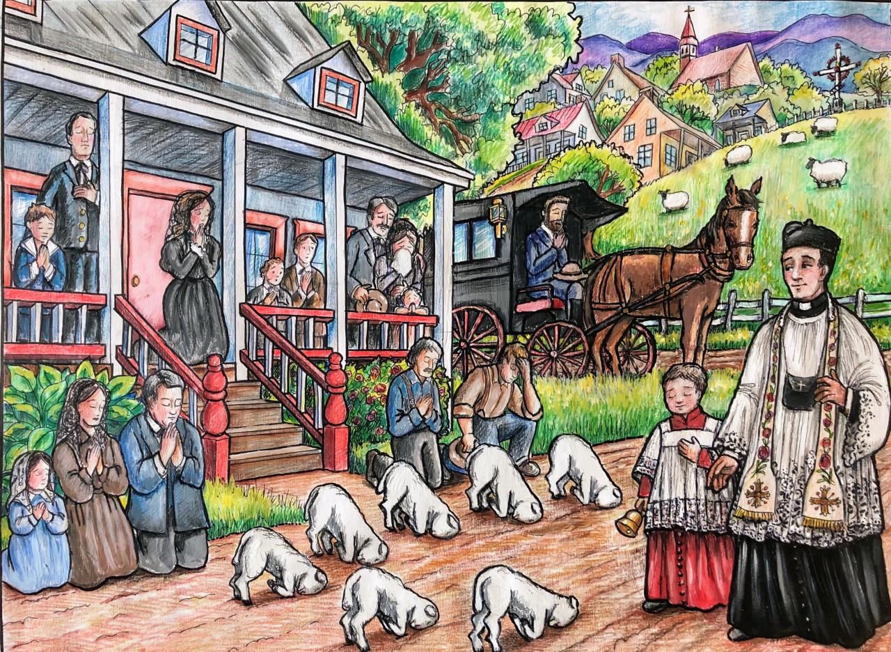 Quand des agneaux vénèrent le Saint-Sacrement Image
