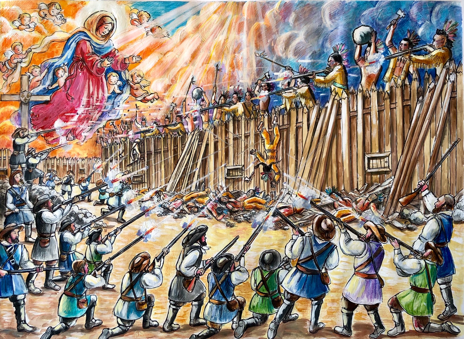 The Virgin Mary pushed the bullets away Image