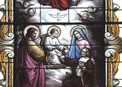 vitrail de l'apparition de la Sainte Famille à Jérôme le Royer, chapelle de l'Hôtel-Dieu, Baugé, France