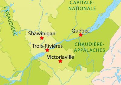 Carte géographique de Shawinigan et la rivière Saint-Maurice