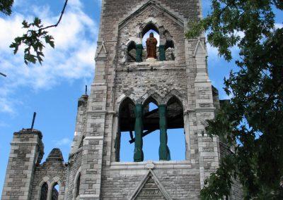 Clocher de l'église Saint-Paul incendié