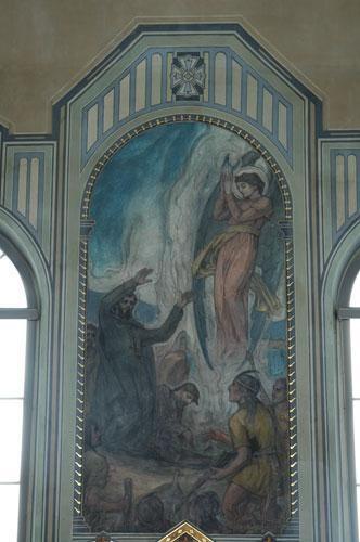 Peinture du martyre de Jacques Buteux et de son compagnon