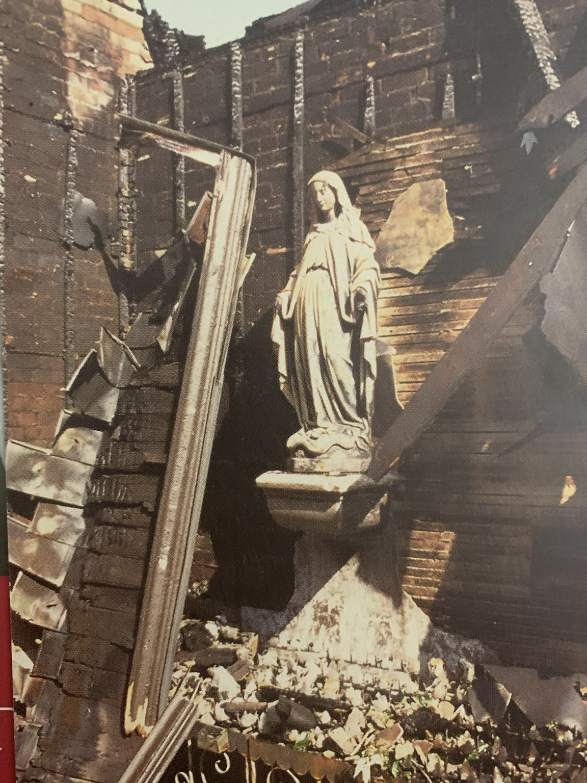 The statue of Mary preserved from the flames Image