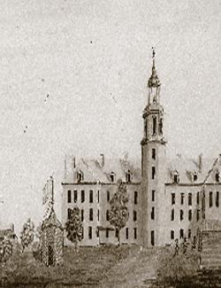Séminaire de St-Hyacinthe au 19e siècle, sur le site de la cathédrale actuelle